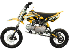 yellow 4-stroke dirt bike